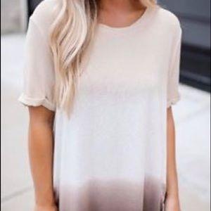 Ombré cream tan shirt